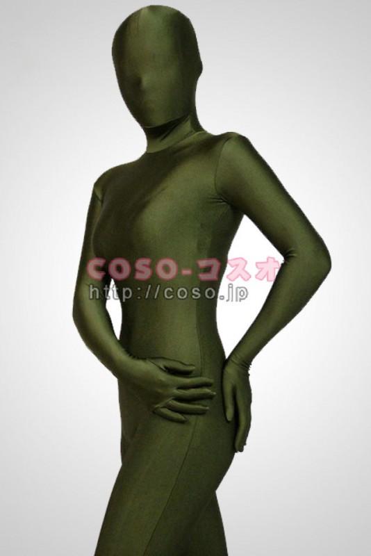 透明人間 濃緑色 ライクラ 背中ファスナー―3taitsu0028