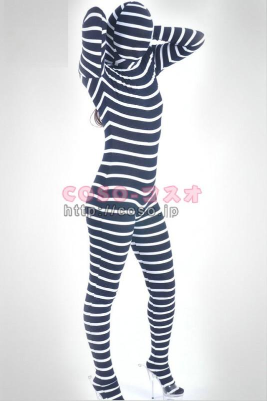 透明人間 白いしま模様 ライクラ タイツ全身 変装コスチューム―3taitsu0091