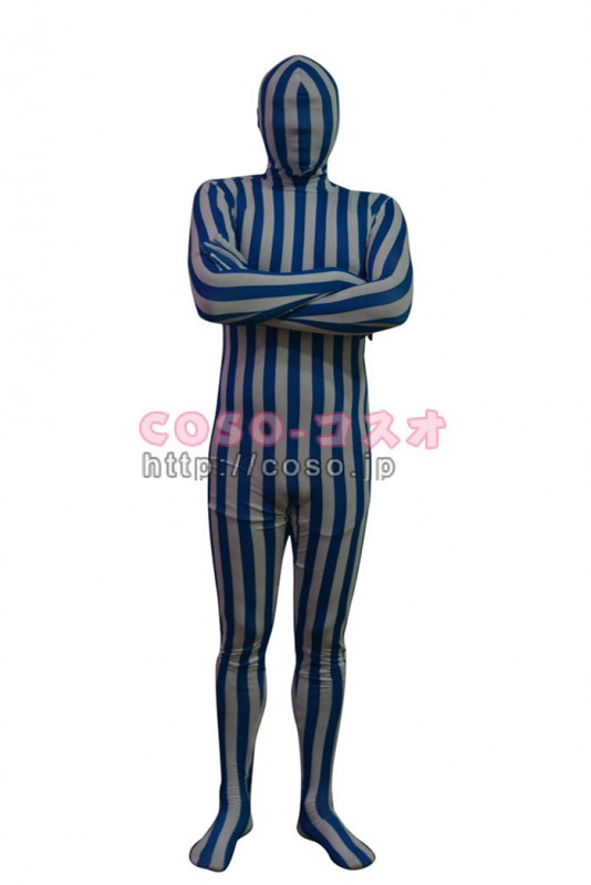 通販 ブルー*ホワイト縦縞柄 新作 ハッピーメイカー ライクラスパンデックス―3taitsu0175