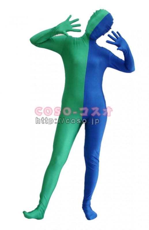 NEW パッチワーク 半面人 ブルー&グリーン 混色 スパンデックス ―3taitsu0179