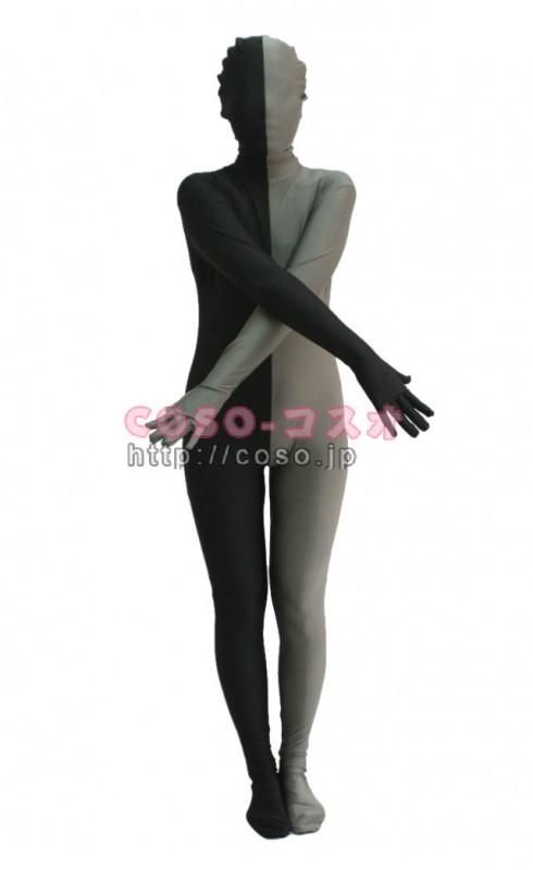 パッチワーク 半面人 グレー&ブラック ライクラ&スパンデックス ゼンタイくん―3taitsu0207