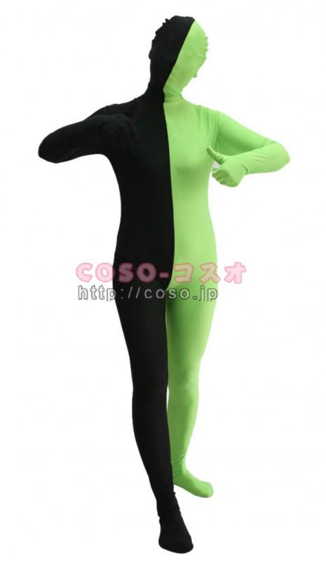 パッチワーク マジック半面人 ブラック&グリーン ライクラ&スパンデックス ―3taitsu0208