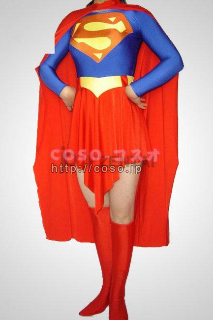 スーパーマン ライクラ スパンデックス スーパーウーマンコスチューム衣装 ―8taitsu0006
