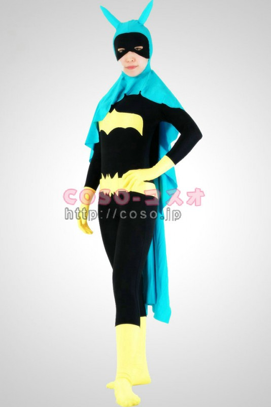 スーパーマン 黒色とイェロー ライクラ バットウーマン ブルーマント付き―8taitsu0013