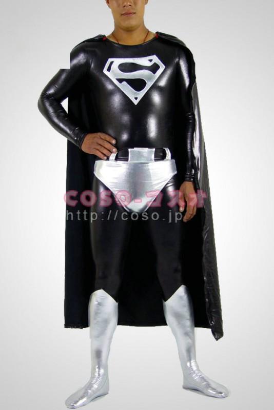 スーパーマン 黒色とシルバー メタリック スーパーマン 全身 タイツ マント付き―8taitsu0016