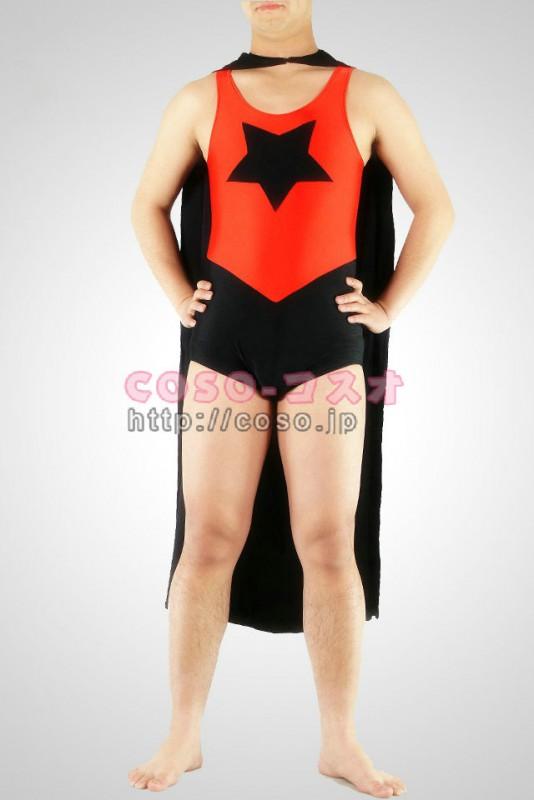 スーパーマン スパンデックス 五角星形 スーパーマン 黒いマント付きの全身タイツ―8taitsu0018 1