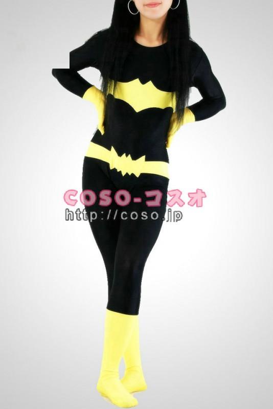 スーパーマン 黒と黄色 ライクラ バットウーマン 全身タイツ―8taitsu0022