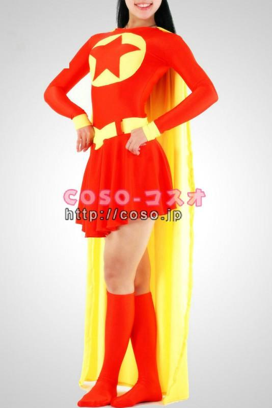 スーパーマン レッドとイェロー スーパーウーマン 全身タイツ―8taitsu0023