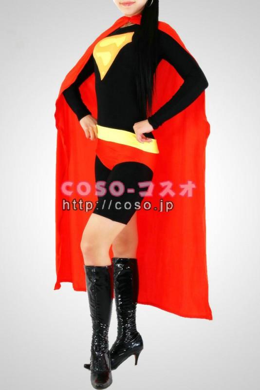 スーパーマン レッドとブラック ライクラ&メタリック 全身タイツ―8taitsu0024