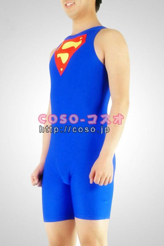 スーパーマン ブルー ライクラ ハーフボディー ゼンタイ コスチューム―8taitsu0025 1
