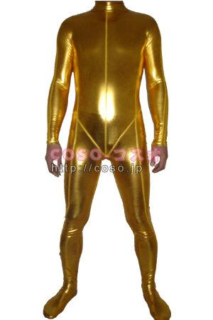 黄色 全身タイツ メタリック 衣装 ―6taitsu0017