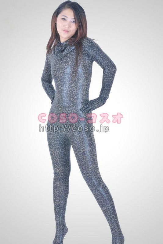 蛇柄 メタリック材質 全身タイツ 背中ファスナー付き―6taitsu0024