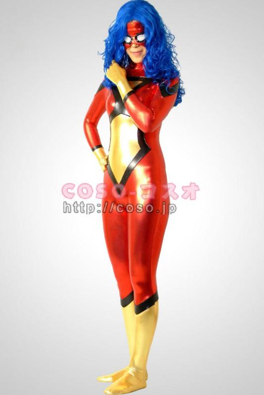 スーパーマン 多色混合 マスク付き ウィッグ無し メタリック 全身タイツ―6taitsu0084