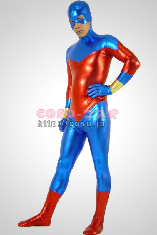 ゼンタイ スーパーマン ブルー&レッド メタリック 全身タイツ―6taitsu0102