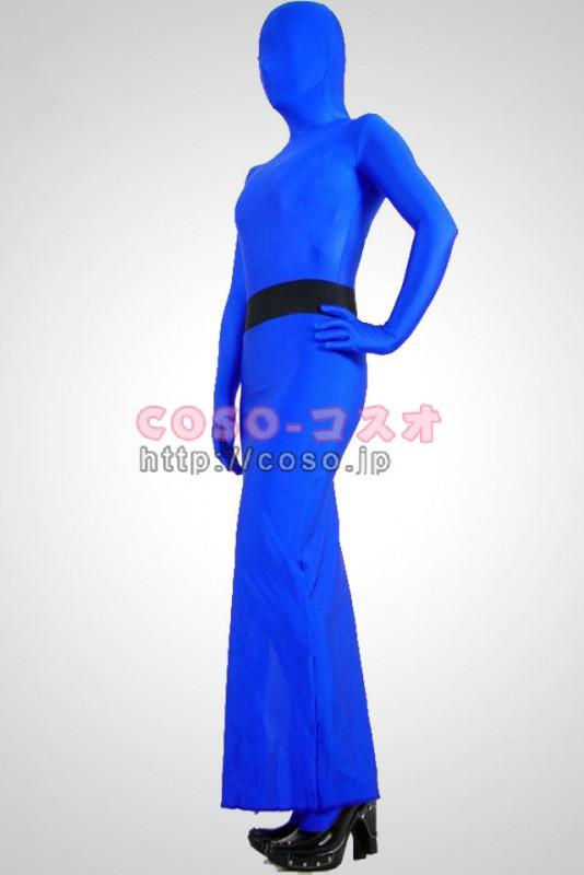 スカートパターン ブルー ライクラ スパンデックス 全身タイツ―6taitsu0112
