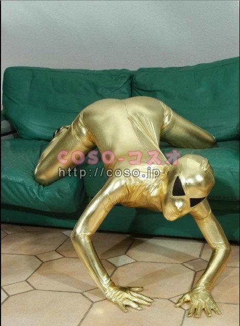 金色 メタリック 宇宙人 コスプレ用 全身タイツ―6taitsu0146