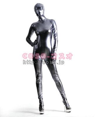 銀灰色 メタリック製 コスプレ用 全身タイツ―6taitsu0013