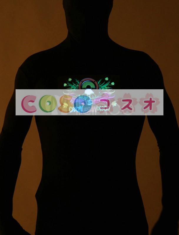 全身タイツ,髑髏 光を出す ブラック 大人用 ユニセックス 蛍光 ―taitsu-tights1408