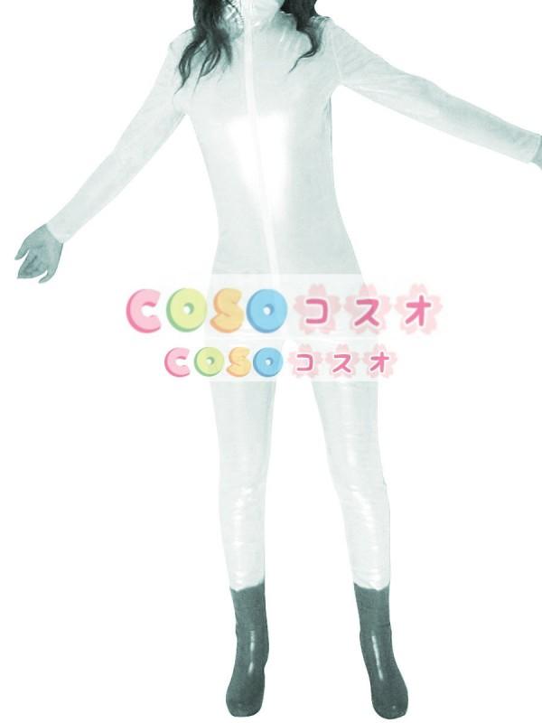 ★スパンデックスゼンタイフェア★ 全身タイツ PVC素材  白―taitsu-tights1416