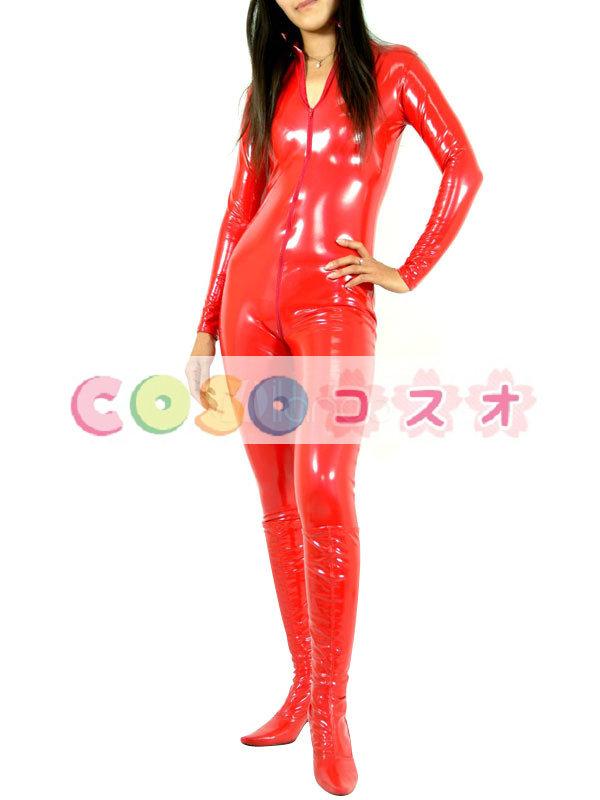 全身タイツ,PVC レッド ユニセックス 大人用 コスチューム コスプレ ―taitsu-tights0199