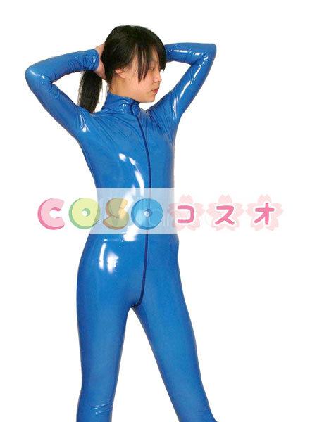 全身タイツ,PVC ブルー コスプレ ユニセックス 大人用 コスチューム―taitsu-tights0205