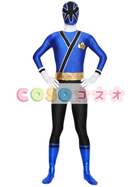 全身タイツ,ブルー&ブラック カラーブロック 大人用 開口部のない全身タイツ 仮装コスチューム ―taitsu-tights0324