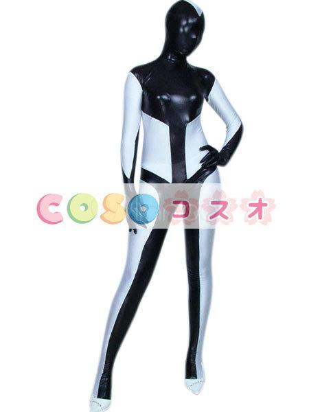 メタリック全身タイツ ブラック×ホワイト メタリック ユニセックス 大人用―taitsu-tights0917