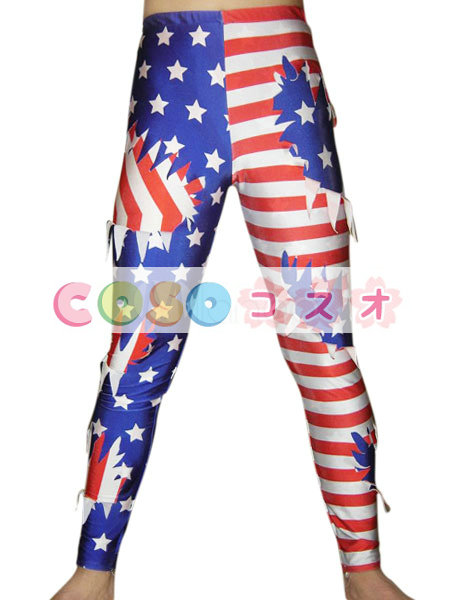 全身タイツ キャットスーツ ズボン 男性用 大人 アメリカの国旗柄 コスチューム レスリング―taitsu-tights1092