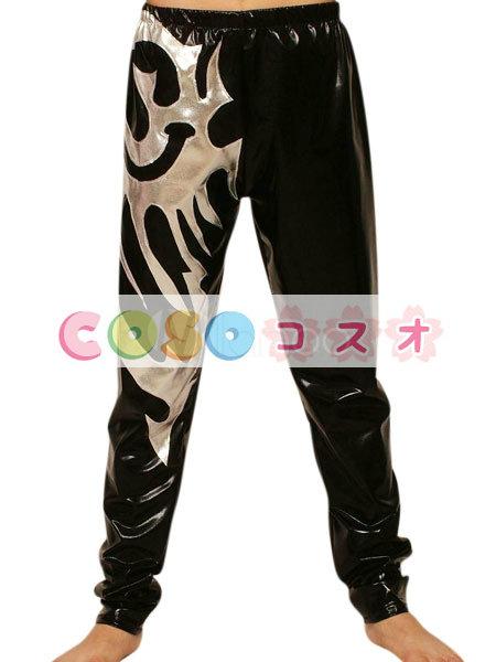 メタリックズボン ブラック&シルバー ユニセックス 大人用 コスチューム レスリング―taitsu-tights1108 1