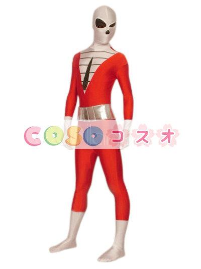 全身タイツ,スーパーヒーロー ユニセックス 大人用 レッド カラーブロック 開口部のない全身タイツ 仮装コスチューム ―taitsu-tights1149