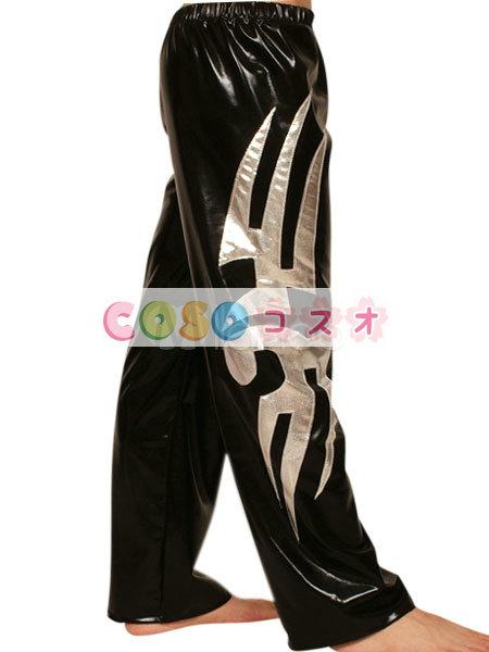 メタリックズボン シルバー&ブラック ユニセックス 大人用 ツートン コスチューム レスリング―taitsu-tights1339 1