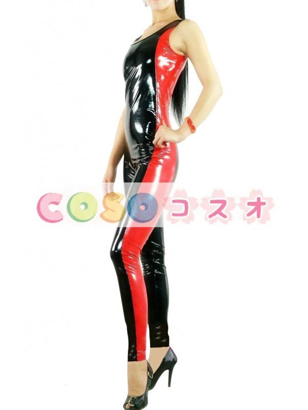 全身タイツ,PVC ユニセックス 大人用 ブラック&レッド コスチューム コスプレ―taitsu-tights0650