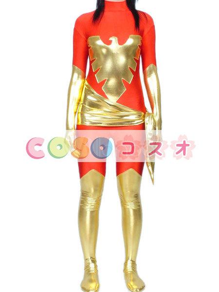 全身タイツ,メタリック 女性用 大人用 レッド&ゴールド スーパーヒーロー ジャンプスーツ ―taitsu-tights1205