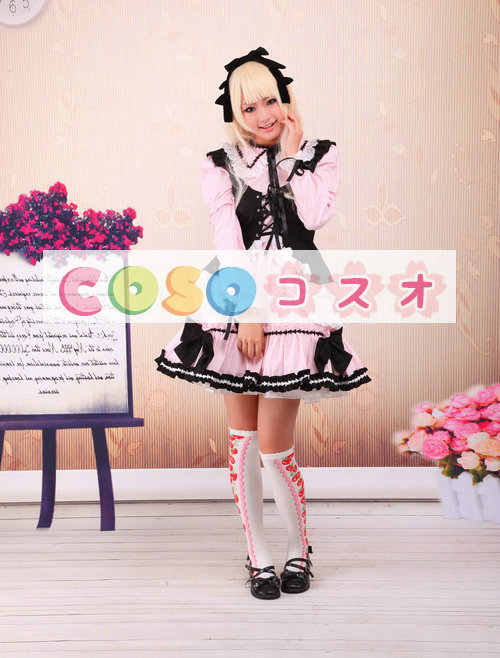 ピンク ロリィタワンピース ブラックベスト 長袖 レーストリム ―Lolita0265