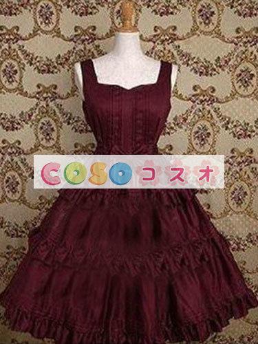 コルセット 可愛い コットン パーティー ワインレッド  ―Lolita0454