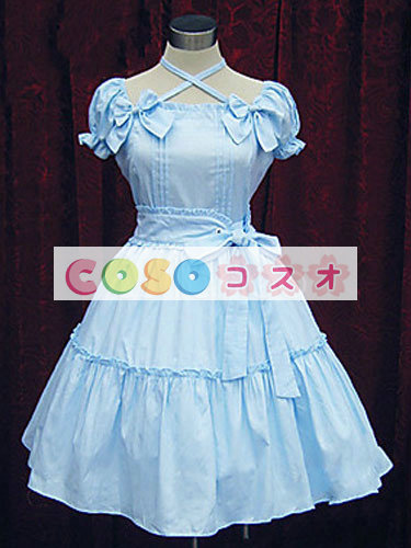 女性のためのライトスカイ ブルー弓コットン カントリーロリータ ドレス ―Lolita0615