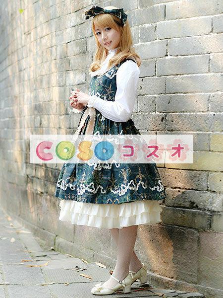 ロリータジャンパースカート ダークグリーン 可愛い コットン  ―Lolita0617