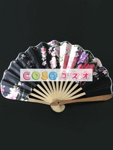 頭飾り 扇子 ブラック 竹 入浴 日本 ジャパニーズ―festival-0190