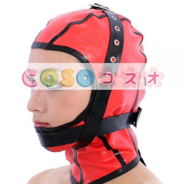 特別な赤いオープンフェイス ラテックス フード―taitsu-tights0888 1