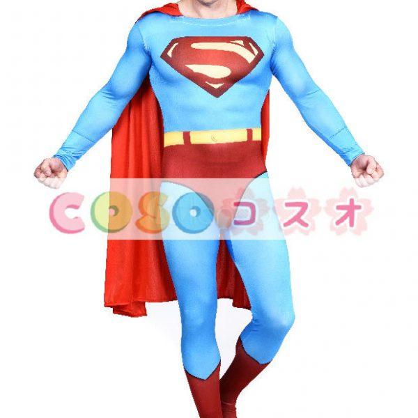全身タイツ ブルー 大人用 ユニセックス スーパーマン ―taitsu-tights1166 1