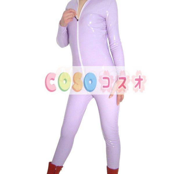 ★スパンデックスゼンタイフェア★全身タイツ PVC素材 紫―taitsu-tights1277 1