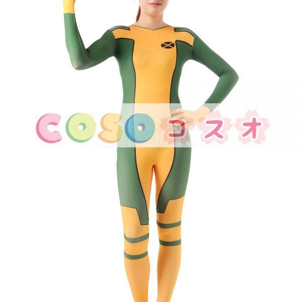全身タイツ イエロー 大人用 ユニセックス スーパーヒーロー ―taitsu-tights1355 1