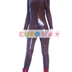 ★スパンデックスゼンタイフェア★全身タイツ PVC素材 茶褐色―taitsu-tights1422