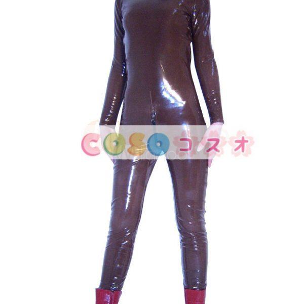 ★スパンデックスゼンタイフェア★全身タイツ PVC素材 茶褐色―taitsu-tights1422 1