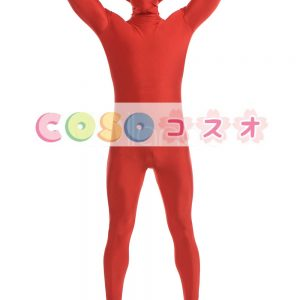 全身タイツ レッド ライクラ・スパンデックス 大人用 ―taitsu-tights1492