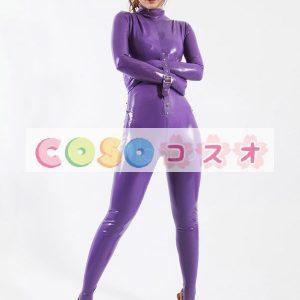 ラテックスキャットスーツ,パープル ユニセックス 大人用 仮装パーティー―taitsu-tights0363