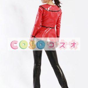 黒いパンツ赤のトップス ユニセックス ラテックス スーツ―taitsu-tights0372