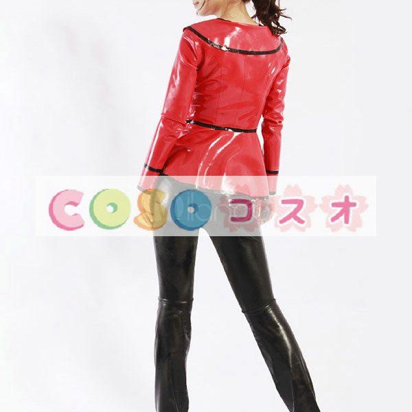 黒いパンツ赤のトップス ユニセックス ラテックス スーツ―taitsu-tights0372 1