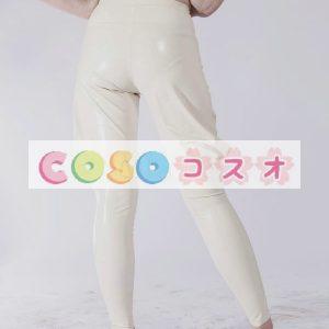 白いユニセックス スキニー トレンディなラテックス ・ レギンス―taitsu-tights0441