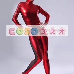 メタリック全身タイツ,レッド 女性用 大人用 コスチューム衣装 目出し ―taitsu-tights0521